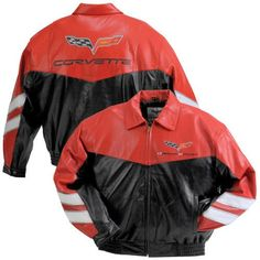 C6 Grand Sport Corvette Red Lambskin Bomber Jacket