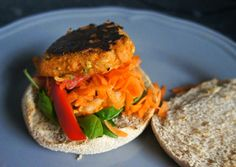 Ginger-chilli sweet potato and almond burgers by Bite-sized Thoughts