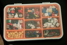 LEGO Minifig storage idea. Picked this up at IKEA for $8 because I needed some screws, turned into a minifig box afterward.