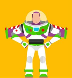Eye-Catching Posters Of Iconic Movie Characters Illustrated In A Flat Style - Buzz Lightyear Toy Story 3, Bolo Toy Story, Toy Story Theme, Toy Story Cakes, Toy Story Party, Toy Story Birthday, Toy Story Room, Disney Pixar, Film Disney