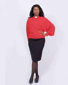 Cam Chiffon Clergy Blouse Red