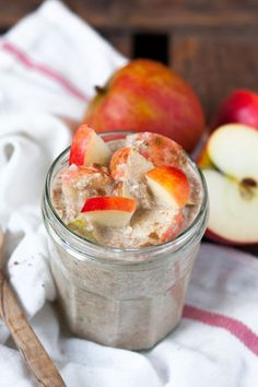 Apple Pie Overnight Oats - Like apple pie for spooning - Essen und Trinken - Quick Oat Recipes, Apple Crisp Recipes, Oats Recipes, Smoothie Recipes, Brunch, Chia Pudding, Apple Pie, Granola, Nutella