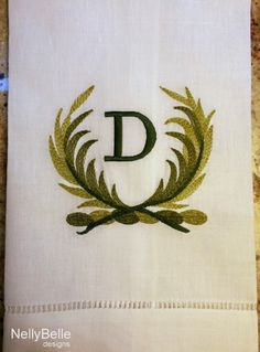 Monogrammed guest towel. Greens on linen/cotton guest towel. NellyBelle Designs