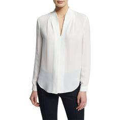 Elie Tahari Judith Long-Sleeve V-Neck Silk Blouse featuring polyvore women's fashion clothing tops blouses antique v neck long sleeve top silk top long sleeve silk blouse elie tahari blouse slimming tops