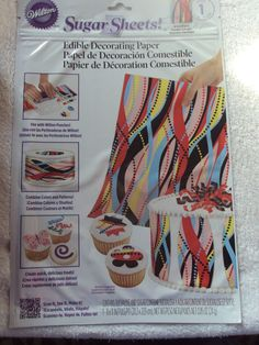 Wilton Sugar Sheet Wild Stripes Design For Cake & Cupcakes Decorating New Sheet Cakes Decorated, Sugar Sheets, Wilton, Kitchen Styling, Stripes Design, Cupcakes Decorating, Decoration, Ebay, Color