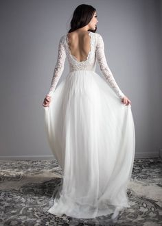 Long Sleeve Wedding Dress, Scoop Back Wedding Dress, Wear Your Love Zoey Dress, Silk Chiffon Wedding