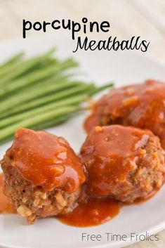 Porcupine Meatballs, easy recipe and kid friendly. If you have little ones, they might eat this. I think Im looking for something a little more grown up. Hamburger Recipes, Meatball Recipes, Ground Beef Recipes, Pork Recipes, Cooking Recipes, Hamburger Dishes, Freezer Cooking, Barbecue Recipes, Sweets