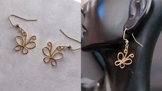 Diy Butterfly Earrings/How to make wire butterfly earrings/easy and simple wire butterfly earrings - YouTube Diy Butterfly, Butterfly Earrings, Handmade Jewelry Tutorials, Chainmaille, Wire, How To Make, Crafts, Manualidades, Handmade Crafts