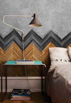 faire une tête de lit soi-même, belle tete de lit chevrons