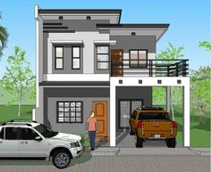 House Plan Signed and Sealed and Ready to Use for New House Construction, Building Permit or Housing Loan Requirement House Plans 2 Storey, One Storey House, 2 Storey House Design, Bungalow House Design, Tiny House Design, Modern House Design, Small Modern House Plans, Narrow House Plans, Two Story House Design