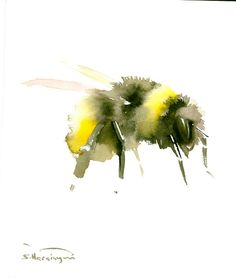 Bumblebee Original watercolor painting 10 x 9 in by ORIGINALONLY