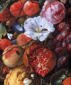 Festoon of fruit & flowers, detail, c.1660 - Jan Davidsz de Heem #art #painting #Dutch_Baroque