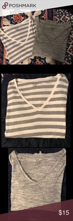 Merona V neck bundle! Long sleeved incredibly soft v neck t shirts! One striped and one olive! Only worn once both. Although an XXL they are perfect for smaller sizes to wear with leggings! That's what I wore them for and I'm a small/medium 💞 Merona Tops