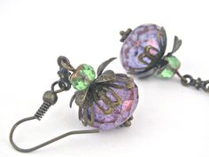 Vintage style luster amethyst and cedar green picasso brass earrings $13.90 #etsyfollow #earrings #jewelry #handmade #gift @Lb Toyos