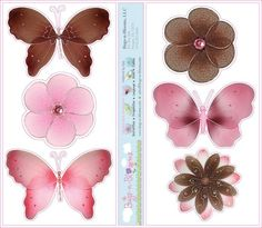 Pink Brown Butterfly Flower Wall Mural Removable Vinyl Stickers