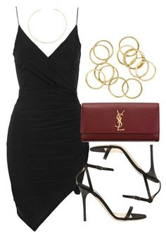 A fashion look from April 2016 featuring Topshop dresses, Jimmy Choo sandals and Yves Saint Laurent clutches. Browse and shop related looks. Date Outfits, Dressy Outfits, Night Outfits, Stylish Outfits, Work Outfits, Look Fashion, Fashion Outfits, Womens Fashion, Covet Fashion