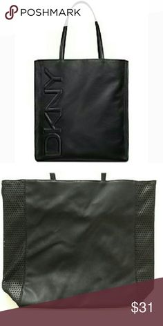 """DKNY Weekender Tote Bag Brand new tote bag is perfect for your everyday essentials or overnight travel. Perforated print on sides of bag. Magnetic closure. Material: PVC. Approximate measurements: 14""""h x 17""""l with 9"""" strap drop. Gift with purchase. DKNY Bags Totes"""