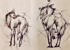 A couple of maned wolf tattoo design ideas for a client. Ballpoint pen, y'all! My favorite sketching tool.