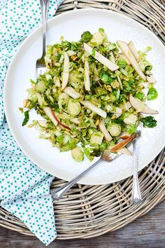 Shredded Brussels Sprout and Apple Salad   www.floatingkitchen.net