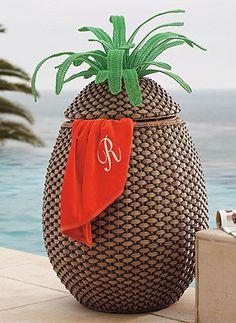 Fun pineapple towel hamper!