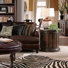 Love this living room design - animal prints are awesome!