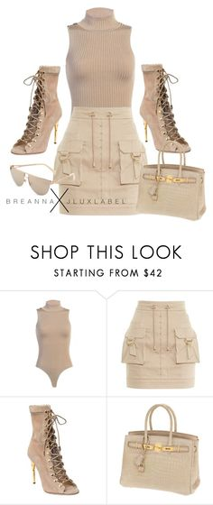 """Untitled #6"" by styledbybreanna ❤ liked on Polyvore featuring Balmain and Hermès"