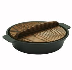 Japanese Sukiyaki Pot with Wood Lid for One Serving