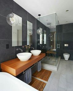 Get inspired with these gray bathroom decorating ideas. Restroom ideas, Gray bathroom walls, Half bathroom decor,Grey bathrooms inspiration, Classic grey bathrooms and Images of bathrooms. Modern Bathrooms Interior, Contemporary Bathrooms, Modern Bathroom Design, Bathroom Interior Design, Interior Decorating, Bathroom Designs, Decorating Ideas, Decor Ideas, Modern Interior