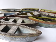 Ceramic boats by Rowena Brown. Lovely raku glaze - these would great with snacks in them for a party Raku Pottery, Pottery Sculpture, Slab Pottery, Pottery Art, Pottery Painting, Ceramic Houses, Ceramic Clay, Beginner Pottery, Pottery Ideas For Beginners