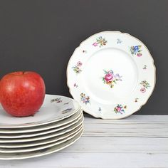 Vintage Set of 8 Salad Plates in Bristol Pattern by