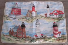 Gorgeous Toland Lighthouse Standard Pillow Sham by artist Donna Elias. Features 6 different lighthouses in New England.