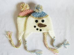 CROCHET PATTERN Snowman Earflap Hat (5 sizes included: newborn-10 years) - @Denise Bernbeck this looks like something all your grandkids should be wearing at the farm!