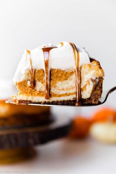 ***Pumpkin Swirl Cheesecake ~ features a delicious pumpkin spice swirl, rich and creamy cheesecake filling, a deliciously spiced and crunchy gingersnap cookie crust, and is loaded with fresh whipped cream and salted caramel sauce. Köstliche Desserts, Delicious Desserts, Dessert Recipes, Cheesecake Desserts, Pumpkin Cheesecake Muffins, Pumpkin Cheescake, Ginger Snap Cookies, Sallys Baking Addiction, Pumpkin Dessert