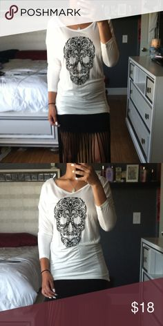 White skull top White long skull top. 3/4 sleeves. Comfortable and some what see through Tops Blouses