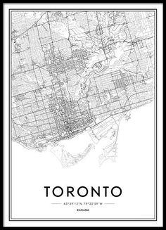 Toronto Poster no grupo Prints / Mapas e cidades em Desenio AB Toronto, Personalised Posters, Beach Posters, Maps Posters, Buy Posters Online, London Poster, Country Wall Art, Framed Maps, City Illustration