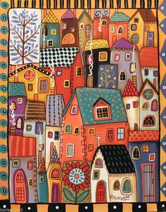 Ideas for house drawing illustration folk art Karla Gerard, House Quilts, House Drawing, Naive Art, Whimsical Art, Art Plastique, Art Lessons, Home Art, Art Drawings