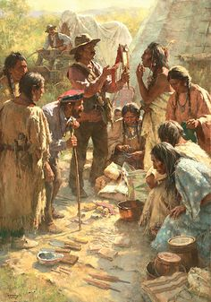 Howard Terpning - Traders Among The Crow