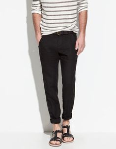 BASIC LINEN TROUSERS - Trousers - Man - ZARA