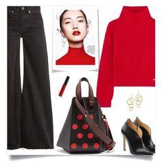 """."" by fashionmonkey1 ❤ liked on Polyvore featuring Raey, Versace, Chloe Gosselin, Loewe, Bloomingdale's and Bobbi Brown Cosmetics"