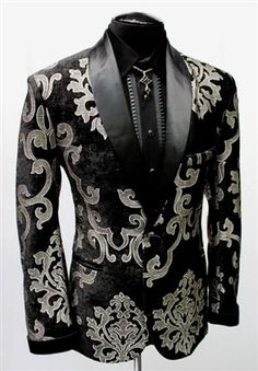 SHRINE - DELUXE SMOKING JACKET - SILVER/BLACK VELVET BROCADE- #infectiousthreads #goth #gothic #punk #alt #alternative #punkrock #black #fashion #clothes #clothing #darkfashion #streetfashion #smokingjacket