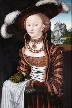 Portrait of a Young Woman Holding Grapes and Apples, Lucas Cranach the Elder Date: 1528