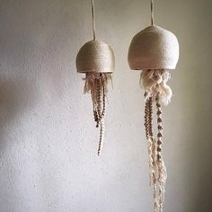 Jellyfish macrame and rope sculpture by Kym Lightfoot - Pin Diy And Crafts, Arts And Crafts, Macrame Design, Maker, Jellyfish, Basket Weaving, Textile Art, Fiber Art, Craft Projects