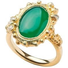 Preowned Milena Kovanovic Green Agate And Seed Pearl Gold Vermeil... ($414) ❤ liked on Polyvore featuring jewelry, rings, cocktail rings, green, silver rings, silver band ring, silver cocktail ring and druzy ring