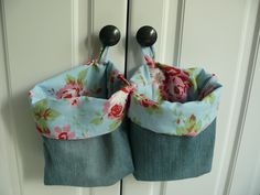 rose fabric + old jeans = sweet little bags