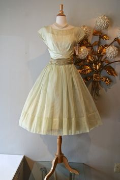 Vintage 50s Dress / 1950's Celadon Green Organdy by xtabayvintage, $198.00