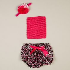 Newborn Hot Pink and Leopard Bloomer Set - Always Serendipity - Events