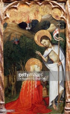Stock Illustration : Don't Touch Me, detail from altarpiece of St. Mary Magdalene (1437-1452), by Bernat Martorell (circa 1400-1452), painted on wood, Catalan Gothic art