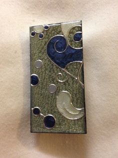 Silver & Blue Swirls Wood Pin 1 X 2  Brass by ElenaEnchantments. Using Pebeo Fantasy Paints