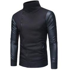 Haina pentru barbati, model la moda, haina calduroasa cu maneci din piele sintetica, potrivit pentru sezonul de toamna si iarna