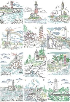 Lighthouse Portraits | Machine Embroidery Designs By Sew Swell
